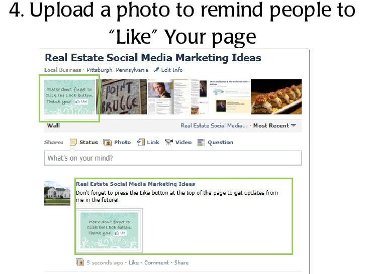 """4. Upload a photo to remind people to """"Like"""" Your page"""