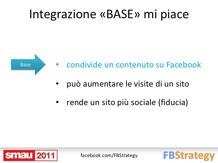 Integrazione «BASE» mi piaceBase   • condivide un contenuto su Facebook       • può aumentare le visite di un sito       •...