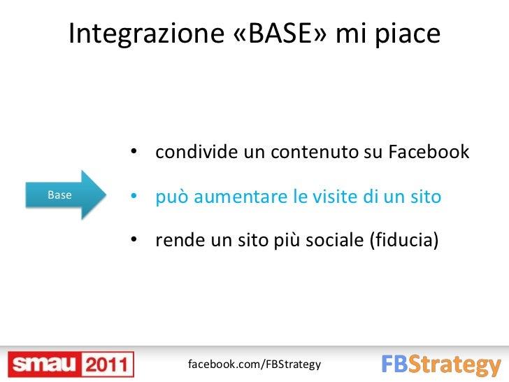 Integrazione «BASE» mi piace       • condivide un contenuto su FacebookBase   • può aumentare le visite di un sito       •...