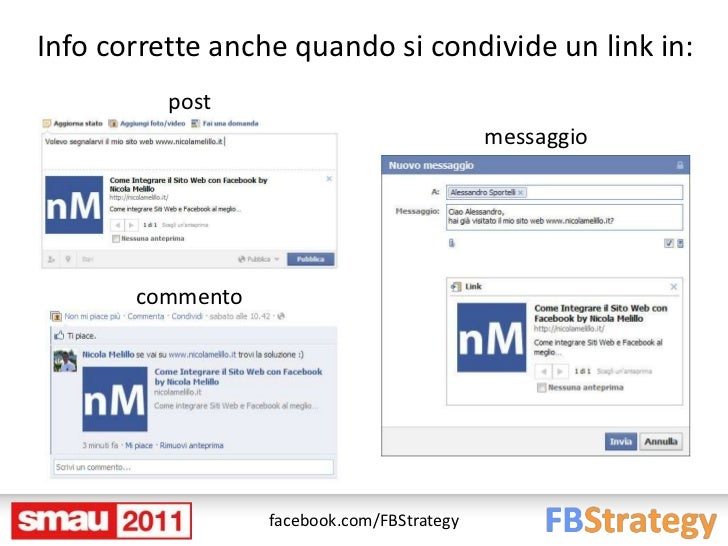Info corrette anche quando si condivide un link in:          post                                            messaggio    ...