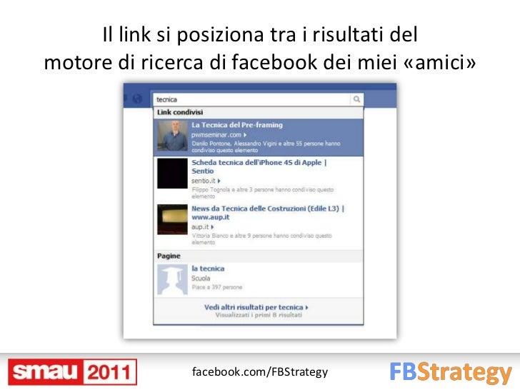 Il link si posiziona tra i risultati delmotore di ricerca di facebook dei miei «amici»               facebook.com/FBStrategy