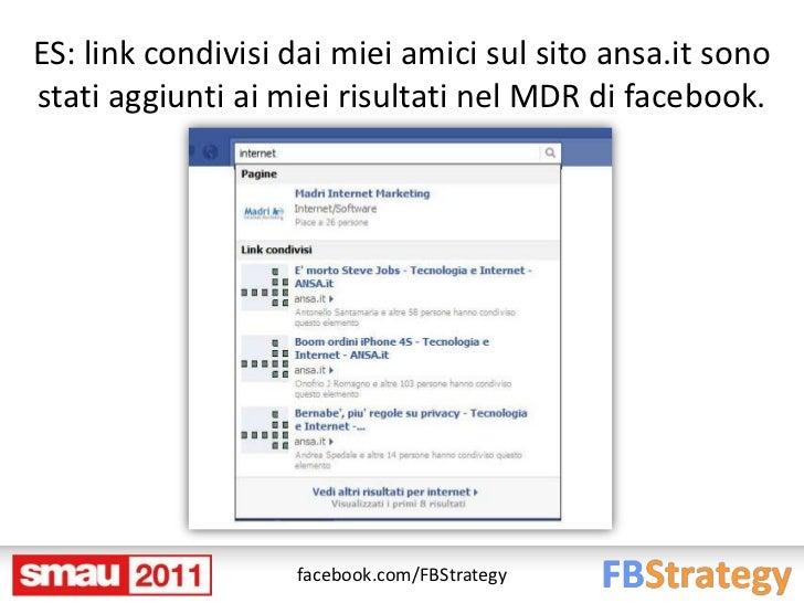 ES: link condivisi dai miei amici sul sito ansa.it sonostati aggiunti ai miei risultati nel MDR di facebook.              ...