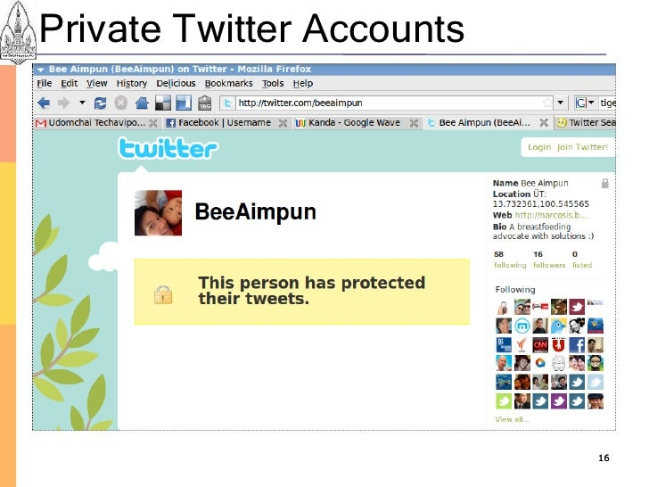 Private Twitter Accounts                                16