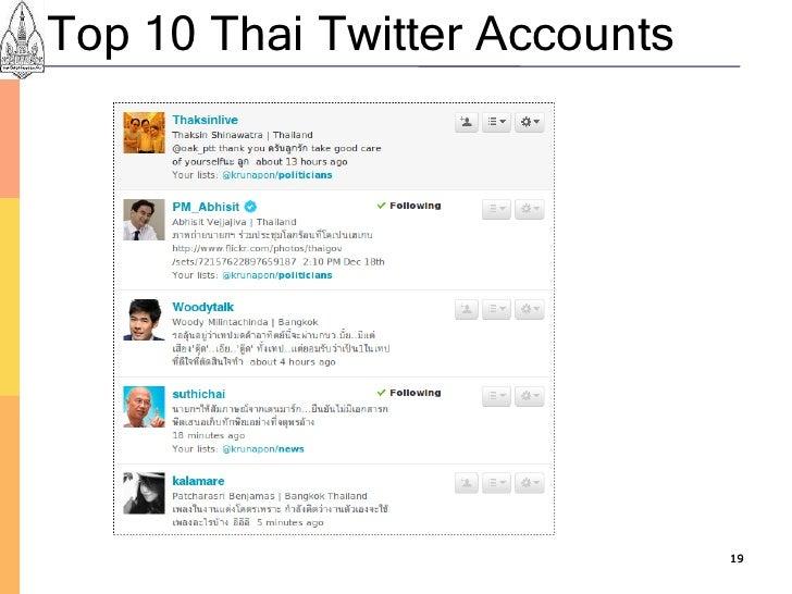 Top 10 Thai Twitter Accounts                                    19