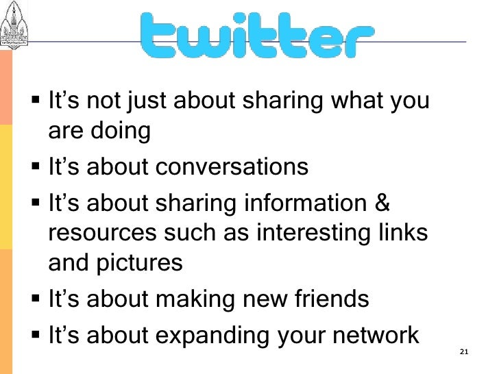  It's not just about sharing what you   are doing  It's about conversations  It's about sharing information &   resourc...
