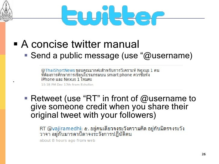 """ A concise twitter manual      Send a public message (use """"@username)            Retweet (use """"RT"""" in front of @userna..."""