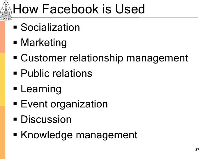 How Facebook is Used  Socialization  Marketing  Customer relationship management  Public relations  Learning  Event ...