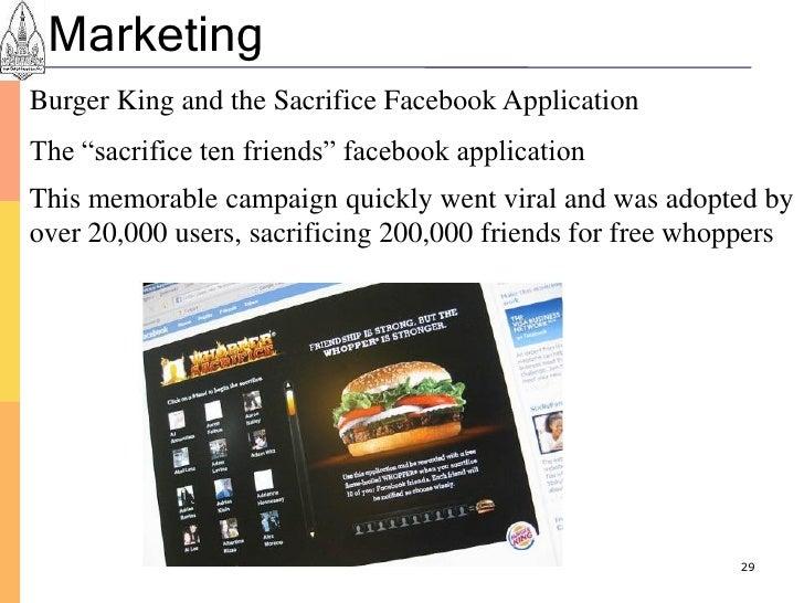 "Marketing Burger King and the Sacrifice Facebook Application The ""sacrifice ten friends"" facebook application This memorab..."