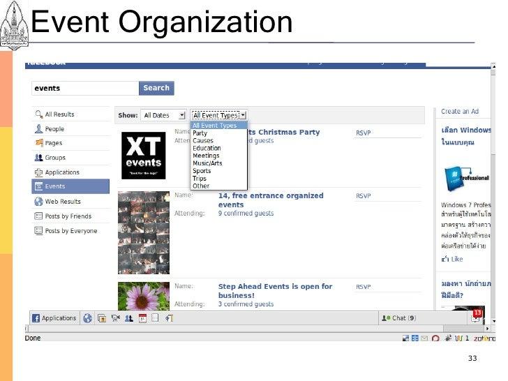 Event Organization                          33
