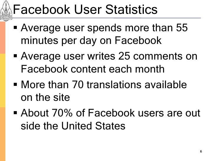 Facebook User Statistics  Average user spends more than 55   minutes per day on Facebook  Average user writes 25 comment...