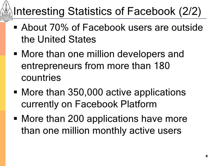 Interesting Statistics of Facebook (2/2)  About 70% of Facebook users are outside   the United States  More than one mil...