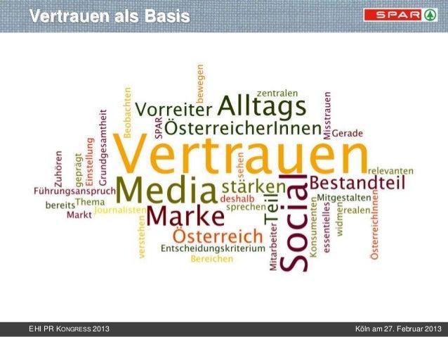 Vertrauen als BasisEHI PR KONGRESS 2013   Köln am 27. Februar 2013