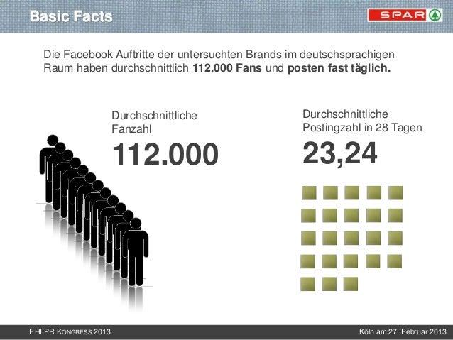 Basic Facts   Die Facebook Auftritte der untersuchten Brands im deutschsprachigen   Raum haben durchschnittlich 112.000 Fa...