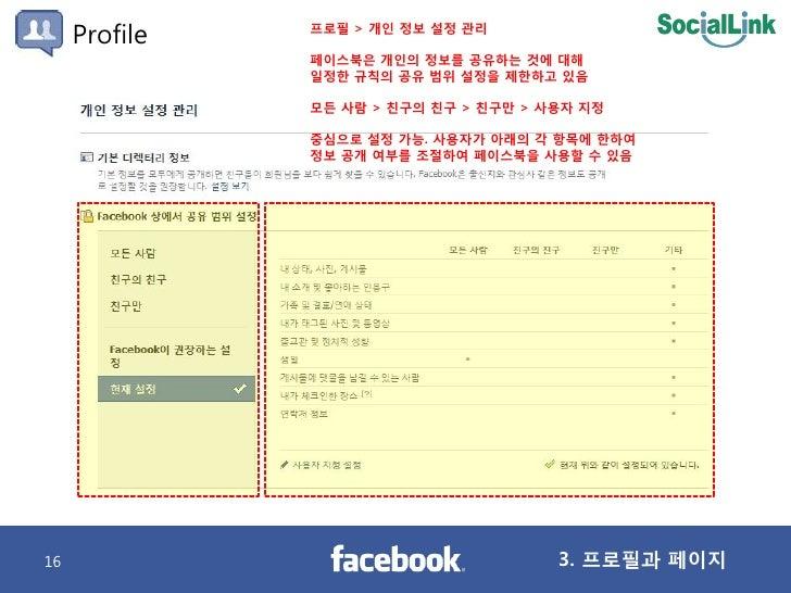 Profile   프로필 > 개인 정보 설정 관리                 페이스북은 개인의 정보를 공유하는 것에 대해                일정핚 규칙의 공유 범위 설정을 제핚하고 있음             ...