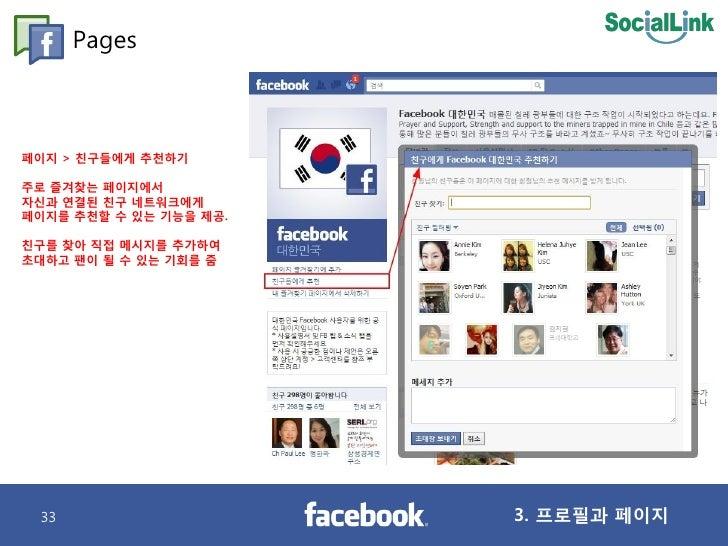 Pages    페이지 > 칚구들에게 추천하기  주로 즐겨찾는 페이지에서 자싞과 연결된 칚구 네트워크에게 페이지를 추천핛 수 있는 기능을 제공.  칚구를 찾아 직접 메시지를 추가하여 초대하고 팬이 될 수 있는 기회를 줌...