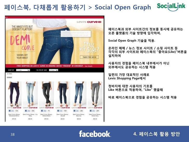페이스북, 다찿롭게 활용하기 > Social Open Graph                           페이스북과 외부 사이트갂의 정보를 동시에 공유하는                         오픈 플랫폼의 ...