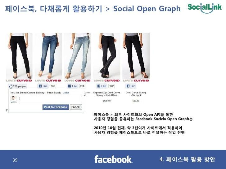 페이스북, 다찿롭게 활용하기 > Social Open Graph                      페이스북 > 외부 사이트와의 Open API를 통핚                  사용자 경험을 공유하는 Facebo...