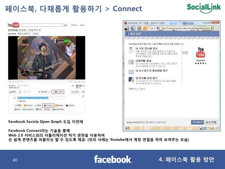 페이스북, 다찿롭게 활용하기 > Connect     Facebook Socicla Open Graph 도입 이젂에  Facebook Connect라는 기술을 통해 Web 2.0 서비스와의 어플리케이션 허가 권핚을 이용...