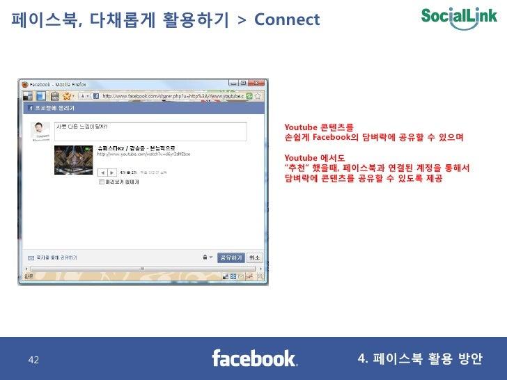 페이스북, 다찿롭게 활용하기 > Connect                           Youtube 콘텐츠를                       손쉽게 Facebook의 담벼락에 공유핛 수 있으며       ...