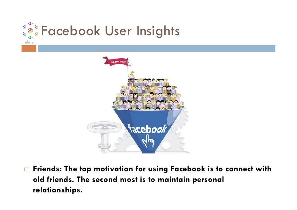 Facebook User InsightsFriends: The top motivation for using Facebook is to connect withold friends. The second most is to ...