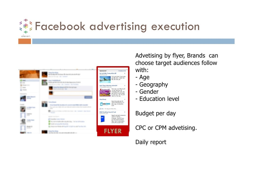 Facebook advertising execution                    Advetising by flyer, Brands can                    choose target audienc...