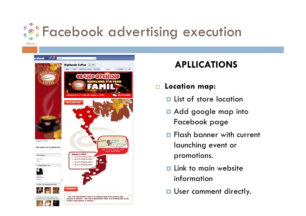 Facebook advertising execution                    APLLICATIONS                  Location map:                    List of s...