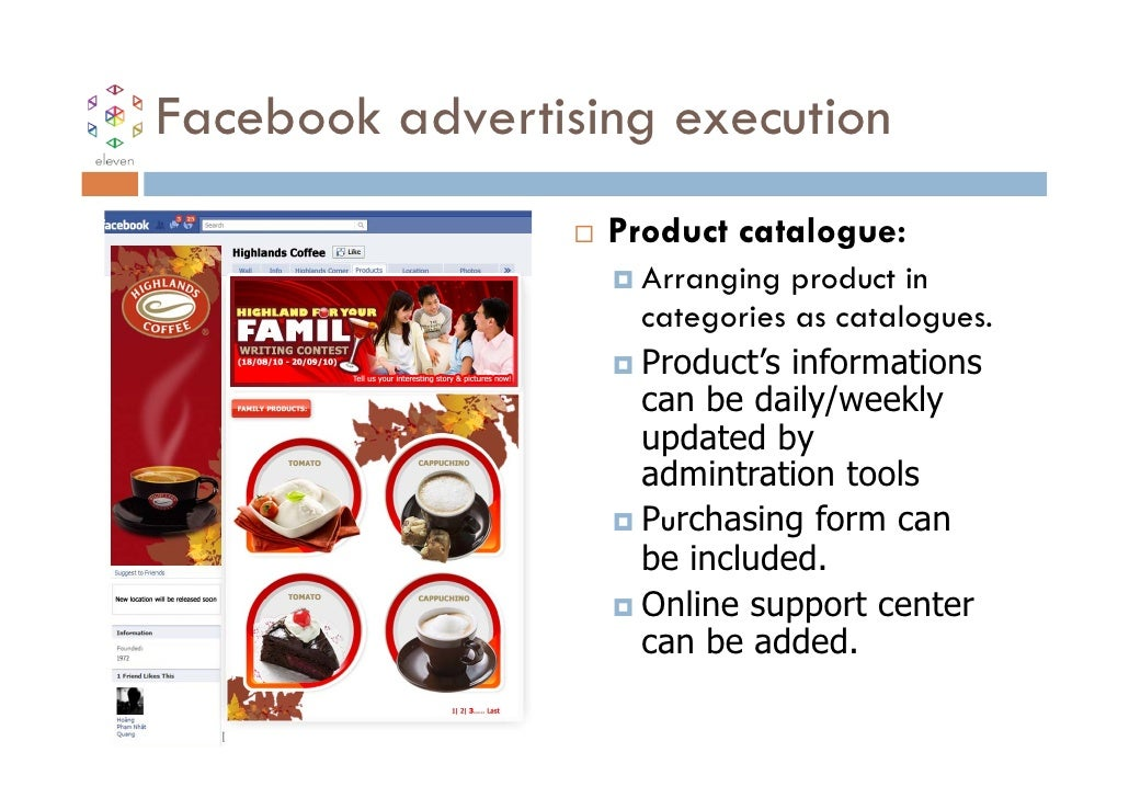 Facebook advertising execution                  Product catalogue:                    Arranging product in                ...