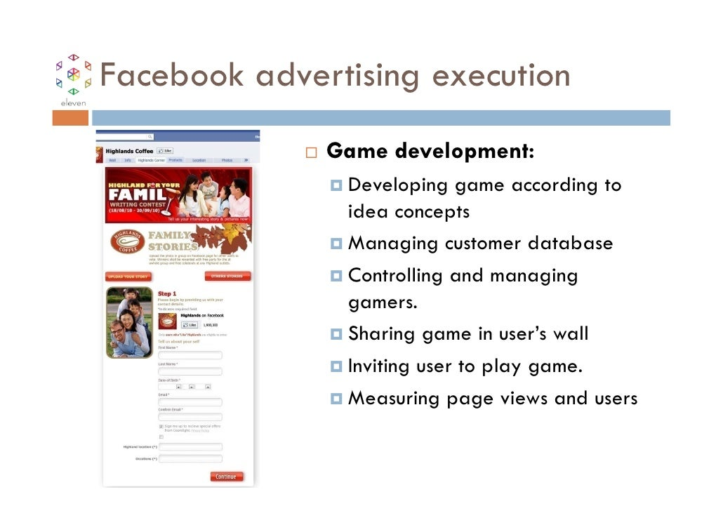 Facebook advertising execution              Game development:               Developing game according to               ide...