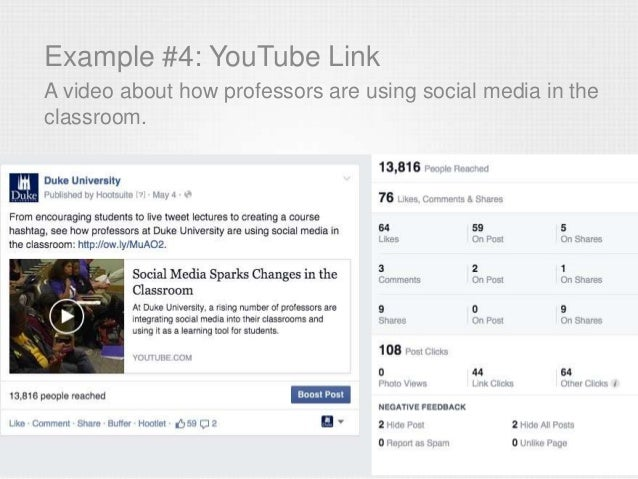 Example #4: YouTube Link A video about how professors are using social media in the classroom.