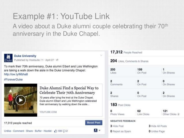 Example #1: YouTube Link A video about a Duke alumni couple celebrating their 70th anniversary in the Duke Chapel.