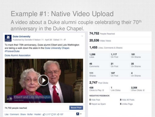 Example #1: Native Video Upload A video about a Duke alumni couple celebrating their 70th anniversary in the Duke Chapel.