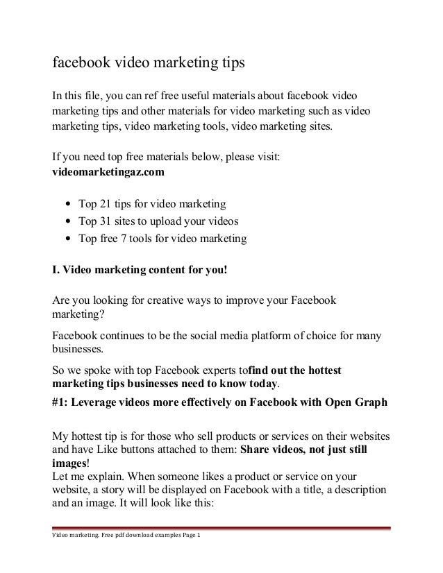 facebook video marketing tips  In this file, you can ref free useful materials about facebook video  marketing tips and ot...