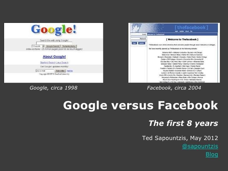 Google, circa 1998      Facebook, circa 2004            Google versus Facebook                         The first 8 years  ...