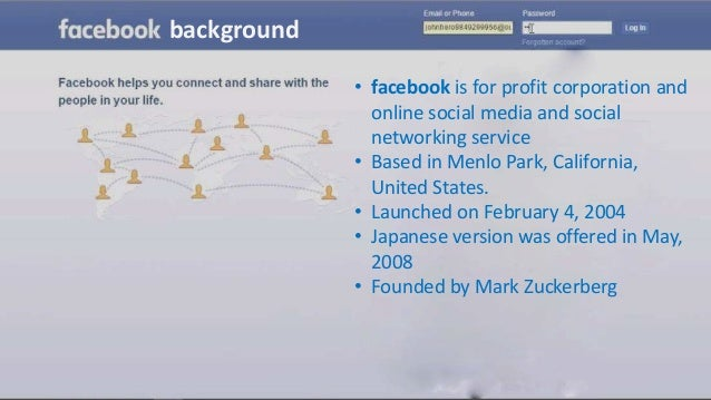 • facebook is for profit corporation and online social media and social networking service • Based in Menlo Park, Californ...