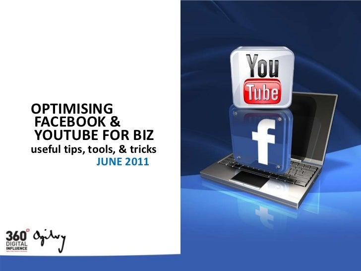 OPTIMISING<br />FACEBOOK &<br />YOUTUBE FOR BIZ<br />useful tips, tools, & tricks<br />JUNE 2011<br />