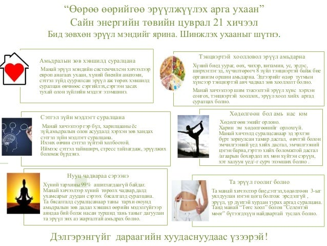 """""""Өөрөө өөрийгөө эрүүлжүүлэх арга ухаан"""" Сайн энергийн төвийн цуврал 21 хичээл Бид зөвхөн эрүүл мэндийг ярина. Шинжлэх ухаа..."""