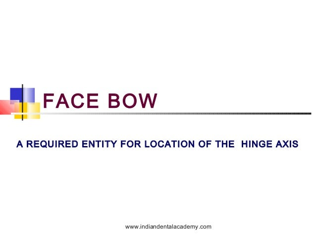 FACE BOW A REQUIRED ENTITY FOR LOCATION OF THE HINGE AXIS  www.indiandentalacademy.com