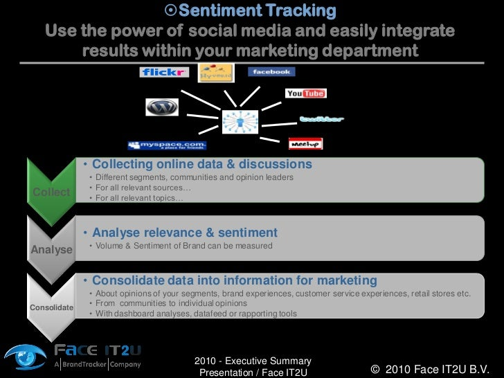 Sentiment Tracking    Use the power of social media and easily integrate        results within your marketing department ...