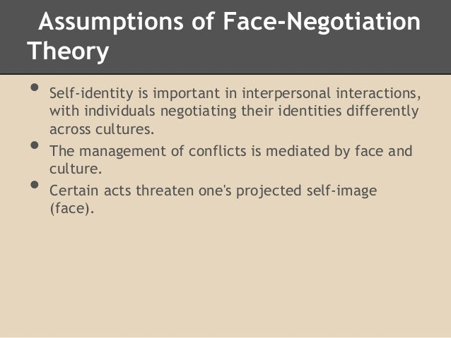 face negotiation theory Theory at a glance • face-negotiation is based on face management, which describes how people from different cultures manage conflict negotiation to maintain face self-face and other-face concerns explain the conflict negotiation between people from various cultures.