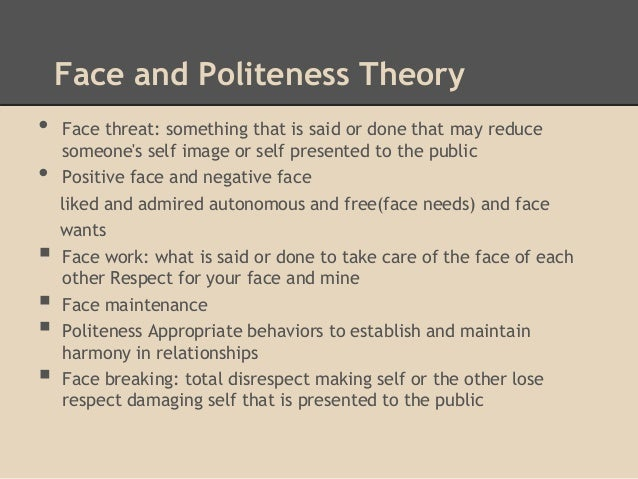 politeness theory in An alternative model and ideology of communication for an alternative to  politeness theory.