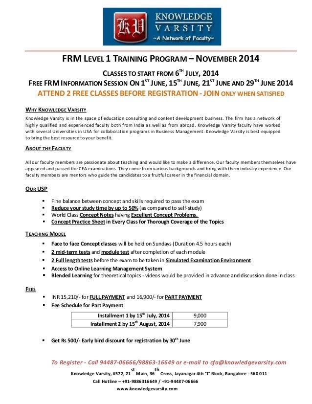 FRM Part 1 Training Program in Bangalore For November 2014 Exam