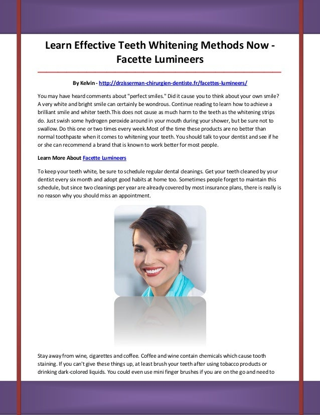 Learn Effective Teeth Whitening Methods Now - Facette Lumineers __________________________________________________________...