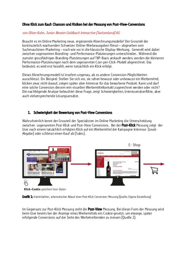 Ohne Klick zum Kauf: Chancen und Risiken bei der Messung von Post-View-Conversions  von Oliver Kuhn, Junior Berater Goldba...