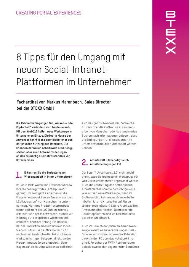 CREATING PORTAL EXPERIENCES 8 Tipps für den Umgang mit neuen Social-Intranet- Plattformen im Unternehmen Fachartikel von M...