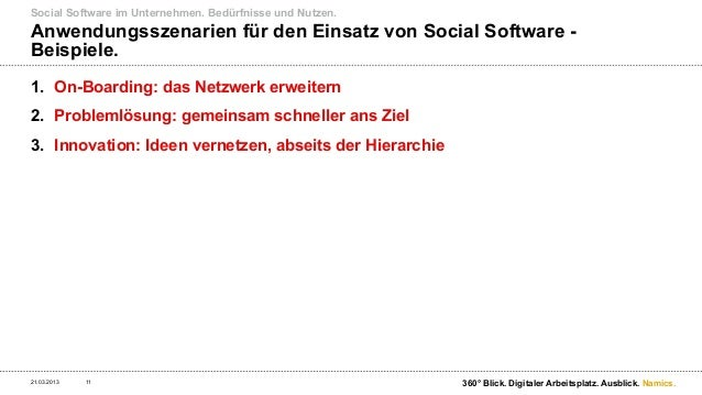 Social Software im Unternehmen. Bedürfnisse und Nutzen.Szenario 1: Onboarding neuer Mitarbeiter.21.03.2013   12           ...