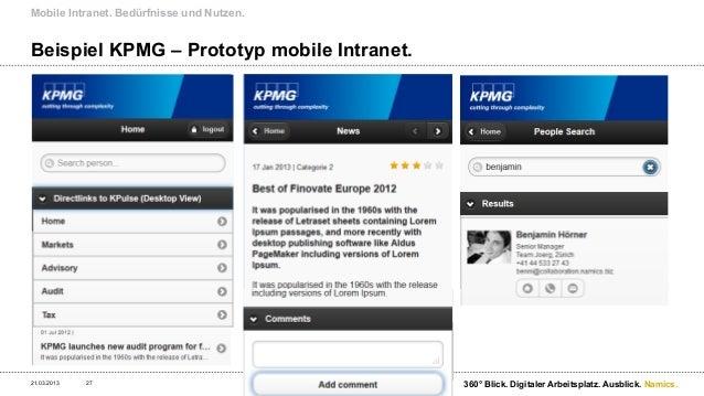 Mobile Intranet. Status Quo und Entwicklung in den Unternehmen.21.03.2013   28                              360° Blick. Di...