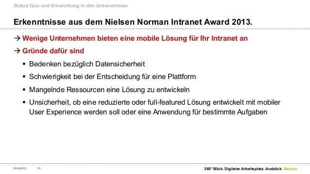Erfolgsfaktoren und Auswirkungen auf das Intranet.21.03.2013   32                               360° Blick. Digitaler Arbe...