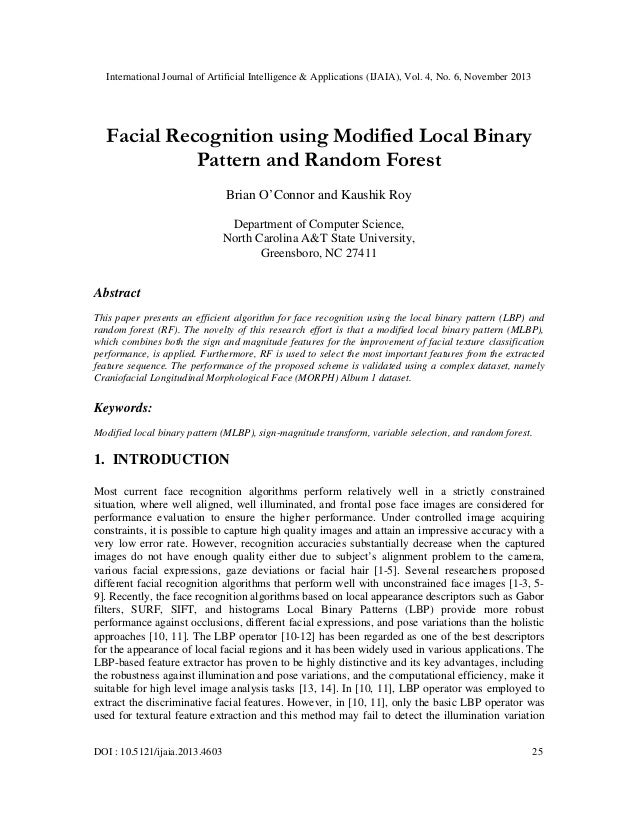 International Journal of Artificial Intelligence & Applications (IJAIA), Vol. 4, No. 6, November 2013  Facial Recognition ...