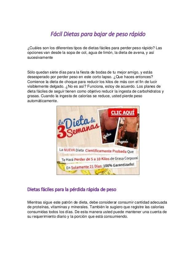 Dieta para bajar de peso rapido facil