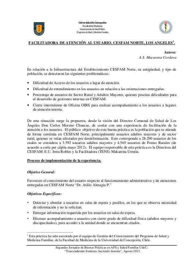 UniversidaddeConcepción FacultaddeMedicina DepartamentodeSaludPública Programa deSalud yMedicina Familiar  FACILITADORA DE...